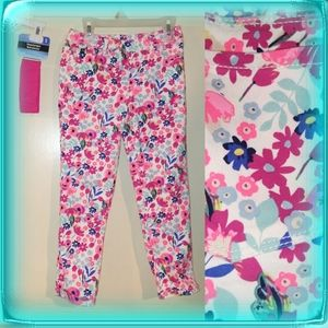 Jordache crop jegging floral white denim girls L